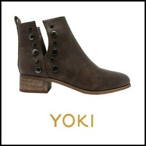 NWT YOKI Brushed Vegan Leather Bootie w/Studs, 10M